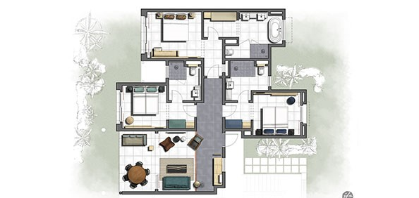 Floor Plan 3 - bedroom unit